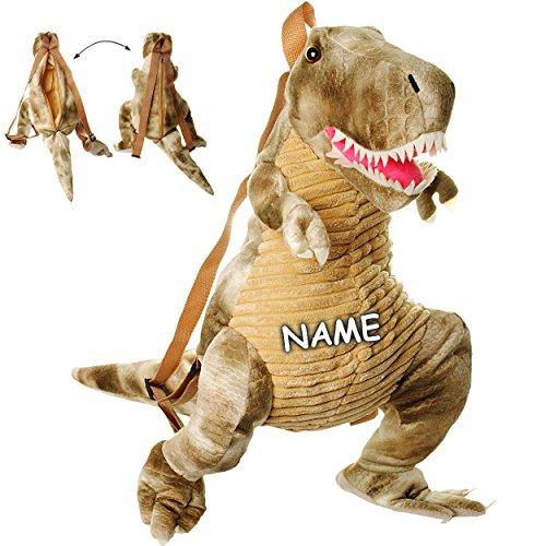 alles-meine.de GmbH 3-D Rucksack & Kuscheltier - XL groß -  Dinosaurier - Tyrannosaurus Rex - grau  - inkl. Name - Plüsch Kinderrucksack / Plüschtier - für Kinder & Erwachsene .. (Bei Wie Rex Ist Groß)