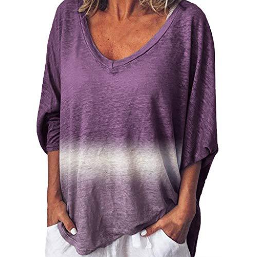 Damen T-Shirt Oberteil Große Größen,Mode Frau Übergröße Tie-Dye-Farbblock lose V-Ausschnitt Pullover Tops Shirt Tee Urlaub Sweatshirt Basic Langarmshirts Oberteil Tops (Tie-dye-sling)