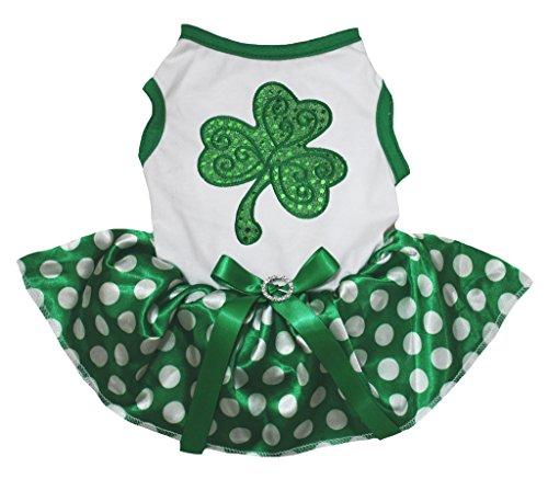 ck Dog Dress Sequins Clover White Cotton Dots Green Tutu (Medium) (St Patricks Tag T-shirts)
