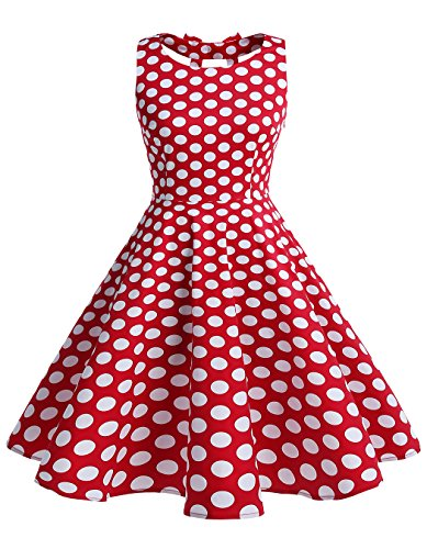 BeryLove Frauen Vintag 50s Polka Dot Bowknot Retro Swing Cocktailparty Kleid BLV8001 RedWhiteDot S (50er Jahre Pin Up Kostüm)