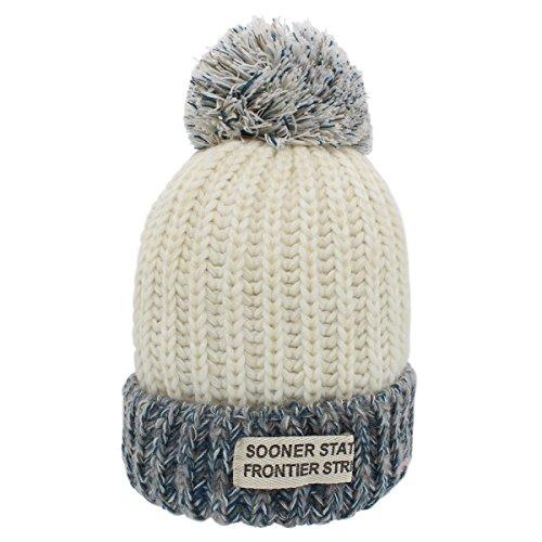Sombreros de invierno para mujer - YOPINDO Bobble sombrero para mujer Tejer gorros de lana Snowboard de esquí al aire libre Sombreros cálidos Gorras con linda bola grande Pom Pom (Blanco)