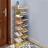 XJB Haushalt Einfache Schuhregal Multilayer multifunktions Massivholz Schuhschrank Badezimmertür Staub Schuhablage