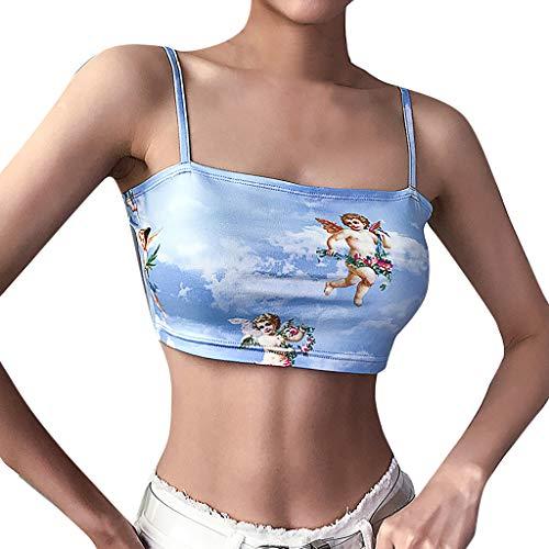 (Oksea Bandeau Tube top Damen Mode Frauen ärmellose kalte Schulter der Engel von Cupid Print Short Camis Top)