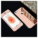 PmseK Protector de Pantalla,Vidrio Templado,Front+Back Protective Plating Mirror Tempered Glass Film For 4 4S 5 5S SE 6 6S 7 8 Explosion-Proof Cristal Templados Rose Gold For iPhone 4 4S