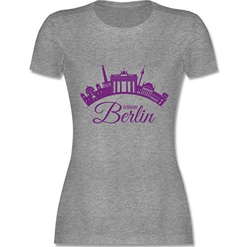 Skyline - Skyline Berlin Deutschland Germany - S - Grau meliert - L191 - Tailliertes Tshirt für Damen und Frauen T-Shirt