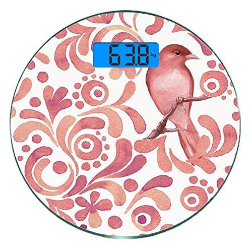Digitale Präzisionswaage für das Körpergewicht Runde Aquarell Ultra dünne ausgeglichenes Glas-Badezimmerwaage-genaue Gewichts-Maße,Netter Vogel auf Baumast-Blumenstrudel-Kurven wenig Dots Wildlife, Co -