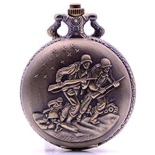 Vintage Bronze Soldat Quarz-Taschenuhr mit Kette, Herren Damen Halskette Anhänger Taschenuhr mit Box für Armee Gedenken