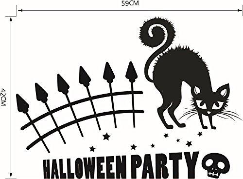 qiulv Thriller Katze Halloween Mauer Aufkleber Geist Festival Schädel Kunst Abziehbilder Tier Kunst Wandgemälde Abnehmbar Wasserdicht Tür Fenster Zuhause Dekoration, Black 10 Set, 112 * 68CM