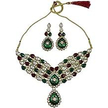 Matra tono Oro Conjunto de 2 piezas de piedra de la CZ collar indio de Bollywood mujeres diseñador de joyas