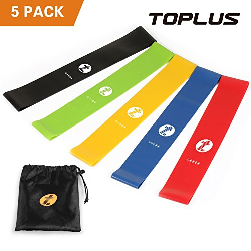 Banda elastica fitness , toplus fasce resistenza bande di resistenza set di 5 bande esercizi per fisioterapia per donne e uomini