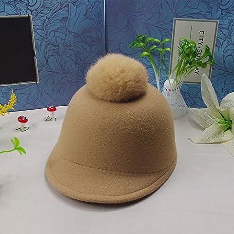 XQXCappelli moda primavera autunno inverno bambini cappello peloso equitazione di hip-hop di pelliccia di coniglio palla cap berretto da bambino , camel , children 52cm