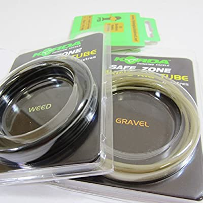 FTD - 4m (2 Packs of 2m) of KORDA Safe Zone (SINKING RIG TUBE) 0.75mm diameter for Carp Fishing Rig Making (Available in Weed, Clay, Silt & Gravel) & 10 FTD Hooks to Nylon from FTD & KORDA