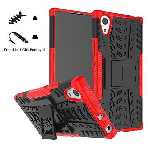 LiuShan Sony XA1 Hülle, Dual Layer Hybrid Handyhülle Drop Resistance Handys Schutz Hülle mit Ständer für Sony Xperia XA1 Smartphone (mit 4in1 Geschenk verpackt),Rot