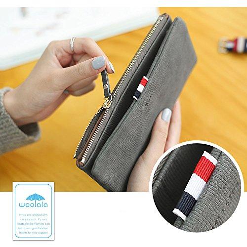 Woolala Womens Nabuk Pieghevole Lungo Portafoglio Moda Zip Cash Card Titolare Borsa Frizione, Nero Green