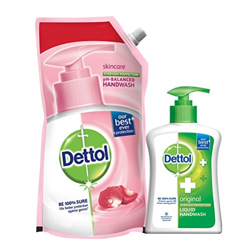 Dettol Skincare Liquid Handwash Refill- 750ml with Liquid Handwash Pump - 200ml (Any Variant)