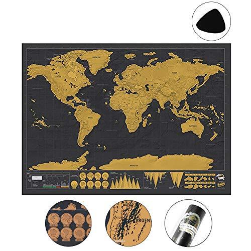 Yompz Carte du Monde à gratter, Mappemonde à Gratter Luxe, Détaillée et Précise - Pays et Faits - Cadeau Idéal pour Les Voyageurs-Tour du Monde - Noir/Or
