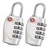 2 x TSA Cadenas de sécurité - 4-nombre Combinaison Voyage Valise bagages Code de sac Lock (Argent) - GARANTIE À VIE