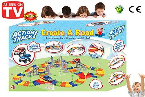 Toy Banks Auto Kinder Rennbahn Flexibel Autorennbahn für Kinder, Spur, Das die Richtung ändert, beinhaltet Zubehör und 2 Autos -