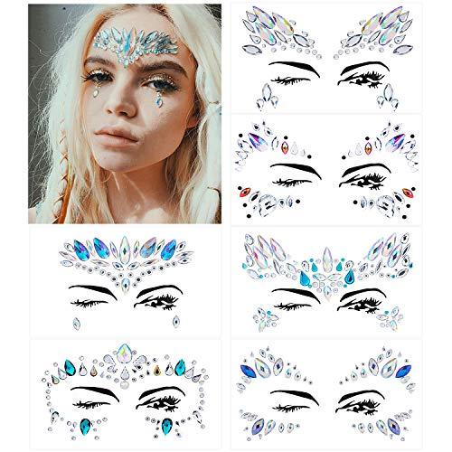 bab743c4a Face Gem Stickers, MOOKLIN Juego de 6 hojas con Pegatinas Cara Joyas cara  Cristales Tatuajes