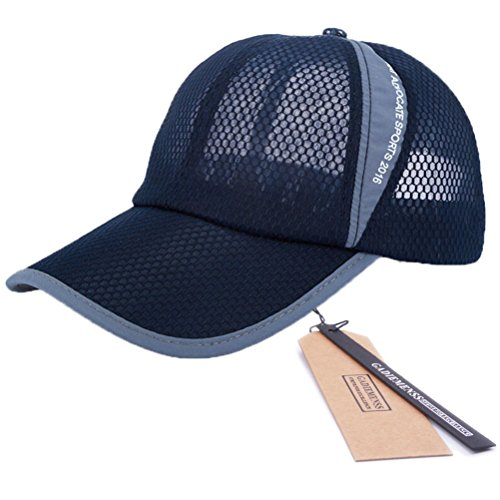 GADIEMENSS Mesh Speed Drying Breathable Running Cap Only 2.3 Ounces (Navy)
