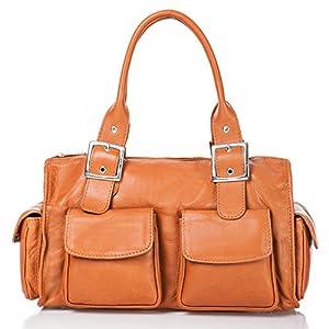 italienische Damen Henkeltasche Stockholm aus echtem Leder in orange braun, Made in Italy, Handtasche 37x23 cm