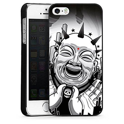 Apple iPhone 5 Housse Étui Silicone Coque Protection Noir et blanc Art Noir blanc CasDur noir