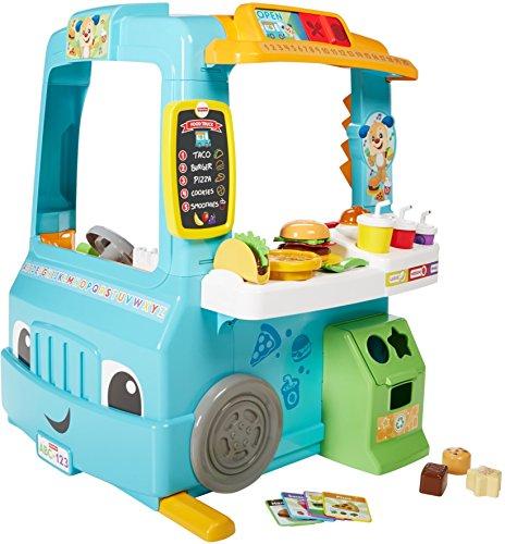 Fisher-Price DYM74 Imbisswagen und Kaufladen zum Spielen und Lernen, englischsprachig (Food Truck-zubehör)