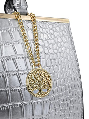 a06fdf90e7f1a ... CRAZYCHIC - Damen Handtasche - Lackiert Krokodil Tasche mit gold Platte  und Kette Schlüsselanhänger - Starr ...