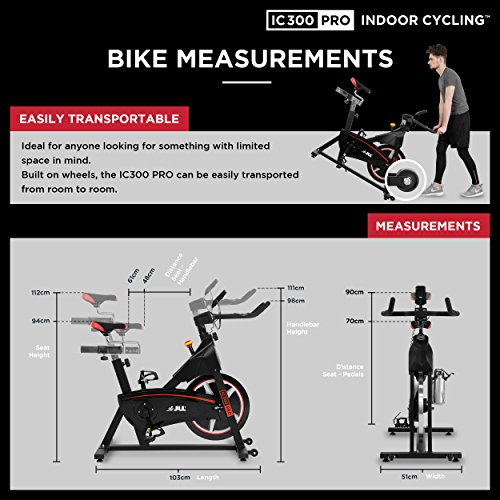 51PfcQNL1 L. SS500  - JLL IC300 PRO Indoor Cycling Exercise Bike, Direct Belt Driven 20kg Flywheel, Magnetic Resistance, 3-Piece Crank, 7-Function Monitor, Heart Rate Sensors, Adjustable Seat, 12 Months Home Warranty