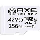 AXE Carte Mémoire microSDXC 256 Go + Adaptateur SD avec Application A2 Performance, V30, UHS-I U3, 4K