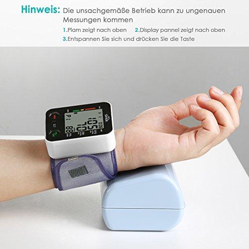 Blutdruckmessgerät Handgelenk, SIMBR Vollautomatisch Blutdruck- und Pulsmessung mit großer Manschette für zwei Benutzer (2x 90 speicherbare Messungen), hohe Messgenauigkeit - 5