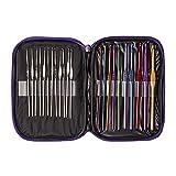 Tailcas® 22pcs Multi-Color Aluminium und Edelstahl Crochet Hooks Häkelnadeln Stricknadeln Set Nadelset Nadel Häkeln Bearded Nadeln in verschiedenen Größen mit lila Tasche