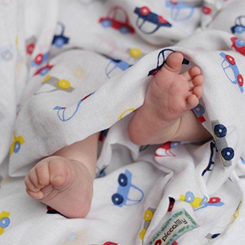 Piccalilly Bio-Baumwolle Weiss & Blau Baby Jungen Auto Druck Musselin Pucktuch