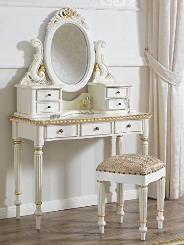 Tocador bailarina tipo barroco blanco - marfil con detalles dorados. Cajonera, espejo, mesa de maquillaje y taburete tocador.