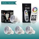 Auraglow 2.4Ghz RF 5W Colour Changing GU10 LED Light Bulb Fully Dimmable - 4 x RGB Light Bulbs & 1 Remote Control