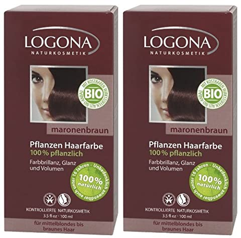 Logona Henna Haarfarbe Pflanzenhaarfarbe maronenbraun im Doppelpack 2 x 100 g