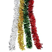BBTO 4 Pieces Christmas Tinsel Shiny Tinsel Garland for Holiday Decoration, 4 Colors, 8 Meters Totally