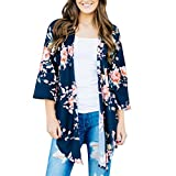 ITISME Damen Strickjacke Frauen Mode Spitze Patchwork Langarm Casual Pure Color Cardigan Damen Floral Sommer 3/4 ÄRmel Strand DüNne Kimono Cover-up Casual Cardigan Mantel