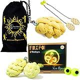 Pro PAPAYA Docht Feuer Poi - Profi Kevlar Feuer Poi Set + Reisetasche! Große Flammen Verlängerte Brennen, Spinning Pois und Feuer Jonglieren für Profis.