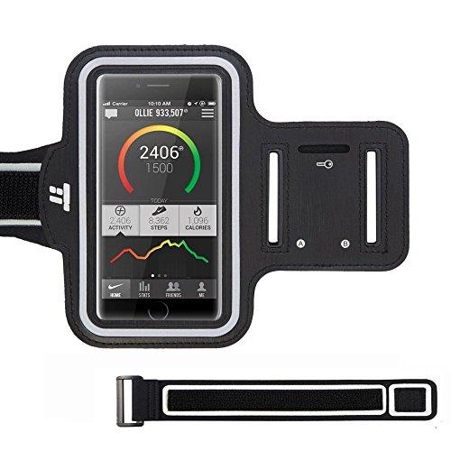 TaoTronics Brassard de sport Smartphone Résistant à l'eau avec Bande d'Extension et Range-clés pour iPhone 6 / 6S / SE / 5 / 5C /5S, Galaxy S6 / S7 / S5, et téléphones jusqu'à 5.1'' – Pour course, vélo, randonnée & marche
