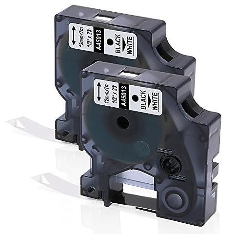 2 Rolle D1 Band 45013 S0720530, Selbstklebendes Schriftband-Kassette Kompatibel für den DYMO Drucker LabelManager Schwarz auf Weiß 12mm x 7m für LM 160 210D 280 360D 420D 500TS PnP WiFi LW 400 450 Duo (2 Jahre Garantie)