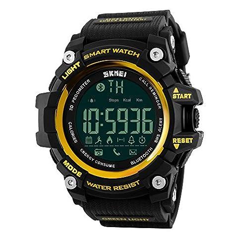 Farsler Smart Bluetooth 4.0multifonction pour homme 50m étanche podomètre montre les calories suivi de prise de vue à distance d'alarme Horloge électronique de sports de plein air Neutre montre numérique (Or)