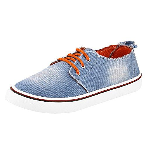 Chevit Men's Stylish 112 Blue Orange Wash Jeans Fashion Loafers...