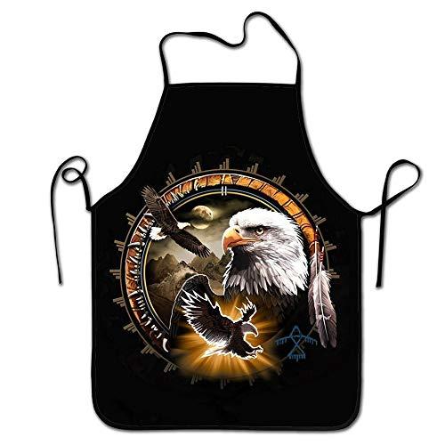 Travis Carr Personalisierte Native American Eagle Print Verstellbarer Gurt Adult Küche Schürzen Mode Männer & Frauen Schutzschürze zum Kochen, Backen, Grillen