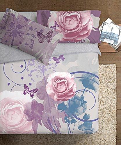 Ipersan Fine Art Disegno Romantico Parure Copripiumino Fotografico, Cotone, Grigio/Lilla, Matrimoniale