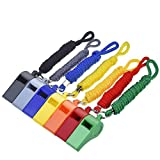 Mudder 7 Pieces Plastic Coach Whistle Sports Referee Whistle