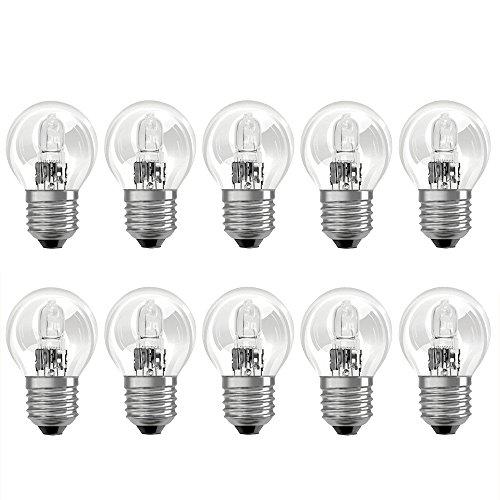 10 x Eco Halogen Tropfen Glühbirne 46W = 60W E27 klar Glühlampe Kugel warmweiß dimmbar 46 Watt - Glühlampe Kugel Birnen