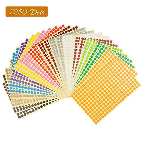 Yotino etichette rotonde adesive 8mm piccola rotonda autoadesivi diversi colorati - 28 fogli 14 colori (7280 punti)
