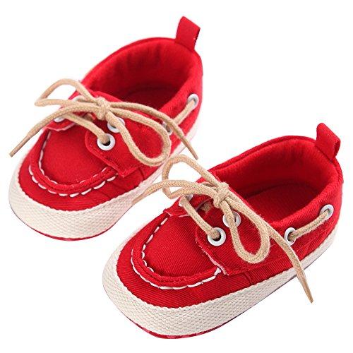 WAYLONGPLUS Baby-Kind-Jungen Prewalker Leinwand Anti-Rutsch weiche Sohle Babyschuhe Rot