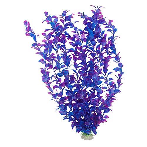 SENZEAL Aquarium Pflanzen Plastik Wasserpflanzen Groß Aquarium Deko Zehn Grasschichten Wasser Gras für Aquarium Fisch Tank Dekoration (Lila) -